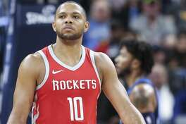 Houston Rockets guard Eric Gordon (10) reacts as the Minnesota Timberwolves make a basket in the first half of Game 3 of the first round of the NBA Playoffs at Target Center Saturday, April 21, 2018 in Minneapolis. (Michael Ciaglo / Houston Chronicle)