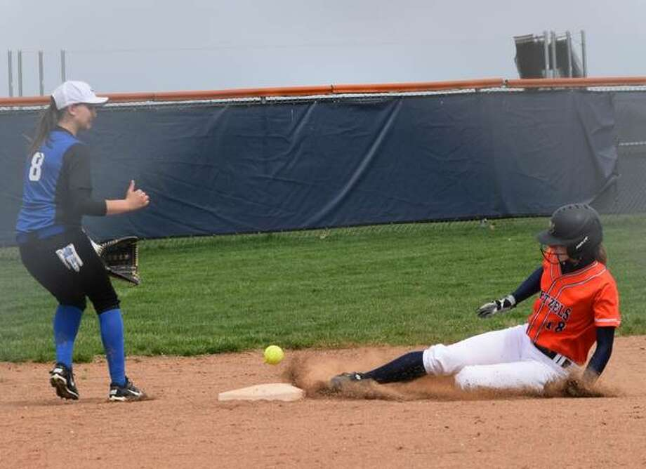 New Berlin's Sierra Eigenmann (18) slides into second Saturday during a double header against North Greene. Photo:     Audrey Clayton | Journal-Courier