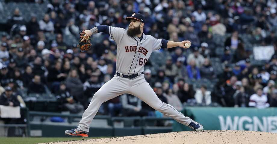Houston Astros starting pitcher Dallas Keuchel throws against the Chicago White Sox during the first inning of a baseball game Saturday, April 21, 2018, in Chicago. (AP Photo/Nam Y. Huh) Photo: Nam Y. Huh/Associated Press