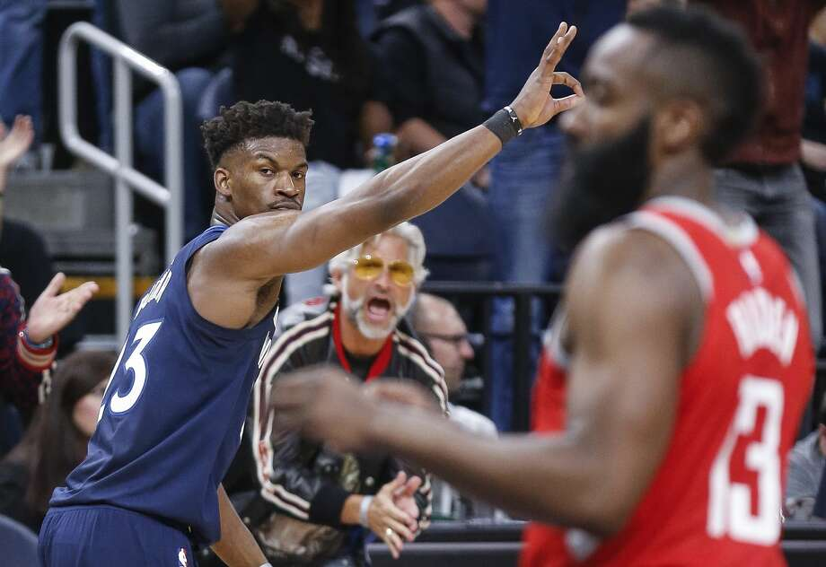 Minnesota Timberwolves guard Jimmy Butler (23) celebrates his three-pointer as the Houston Rockets lose to the Minnesota Timberwolves 121-105 in Game 3 of the first round of the NBA Playoffs at Target Center Saturday, April 21, 2018 in Minneapolis. (Michael Ciaglo / Houston Chronicle) Photo: Michael Ciaglo/Houston Chronicle