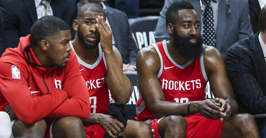 Houston Rockets guard Chris Paul (3) and guard James Harden (13) sit next to each other on the bench at the end of the game as the Houston Rockets lose to the Minnesota Timberwolves 121-105 in Game 3 of the first round of the NBA Playoffs at Target Center Saturday, April 21, 2018 in Minneapolis. (Michael Ciaglo / Houston Chronicle) Photo: Michael Ciaglo/Houston Chronicle