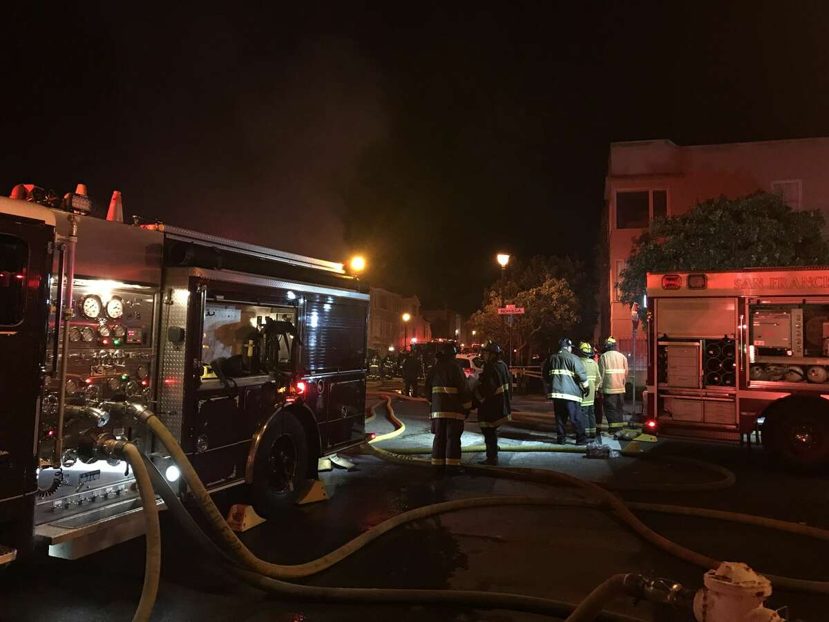 A fire broke out at 1802 Eighth Ave., near the corner of Noriega Street at the edge of the Inner Sunset and Forest Knolls neighborhood, on Saturday night. A fire broke out Saturday night at 1802 Eighth Ave., near the corner of Noriega Street at the edge of the Inner Sunset and Forest Knolls neighborhood.