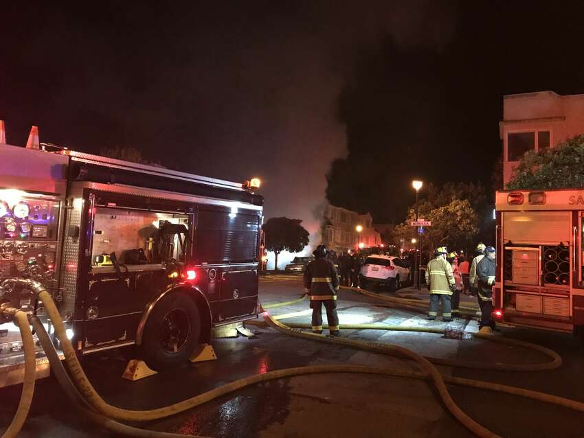A fire broke out at 1802 Eighth Ave., near the corner of Noriega Street at the edge of the Inner Sunset and Forest Knolls neighborhood, on Saturday night. A fire broke outSaturday nightat 1802 Eighth Ave., near the corner of Noriega Street at the edge of the Inner Sunset and Forest Knolls neighborhood.