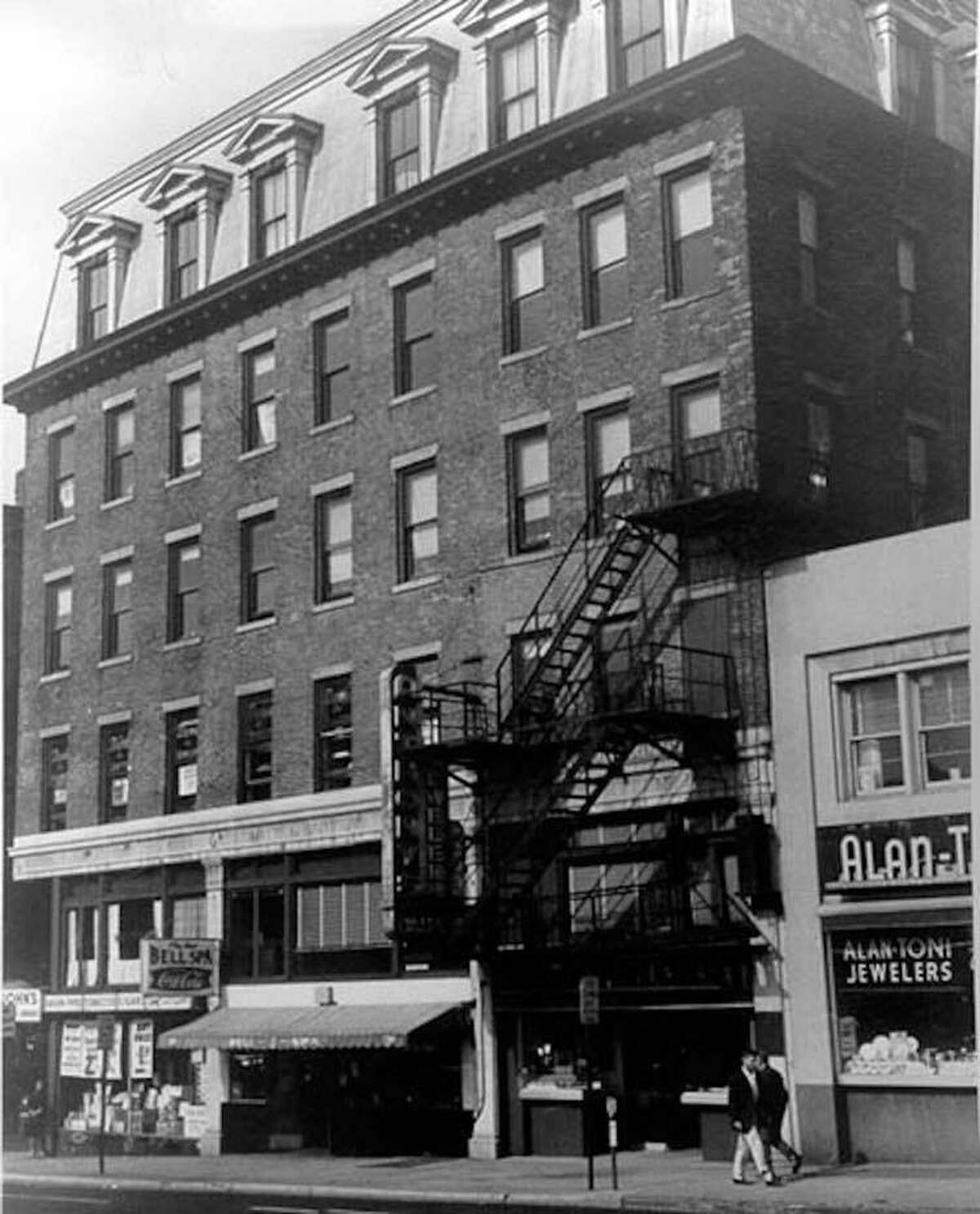 In this photo from the National Park Service, the first telephone exchange was in the Boardman Building at State and Chapel streets in New Haven. The building was listed as a National History Landmark in 1964, but the designation was removed in 1973, and the building was then torn down in order to build a parking garage.