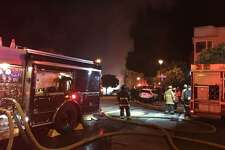 A fire broke out on Eighth Avenue near the corner of Noriega Street on Saturday night.