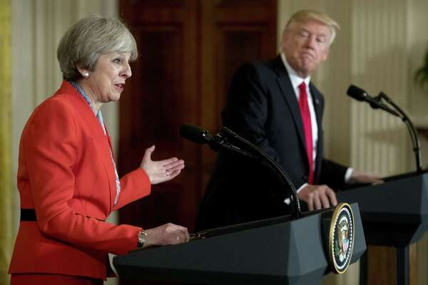 British Prime Minister Theresa May speaks alongside President Trump at a news conference Jan. 27, 2017, in the East Room of the White House.