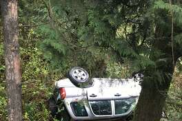 A 73-year-old man was rescued Saturday, April 21, 2018, hours after his car went over an embankment near the Tiger Mountain summit. (Washington State Patrol)