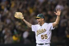 Oakland Athletics starting pitcher Sean Manaea celebrates pitching a no-hitter against the Boston Red Sox in a baseball game in Oakland, Saturday, April 21, 2018. (AP Photo/John Hefti)