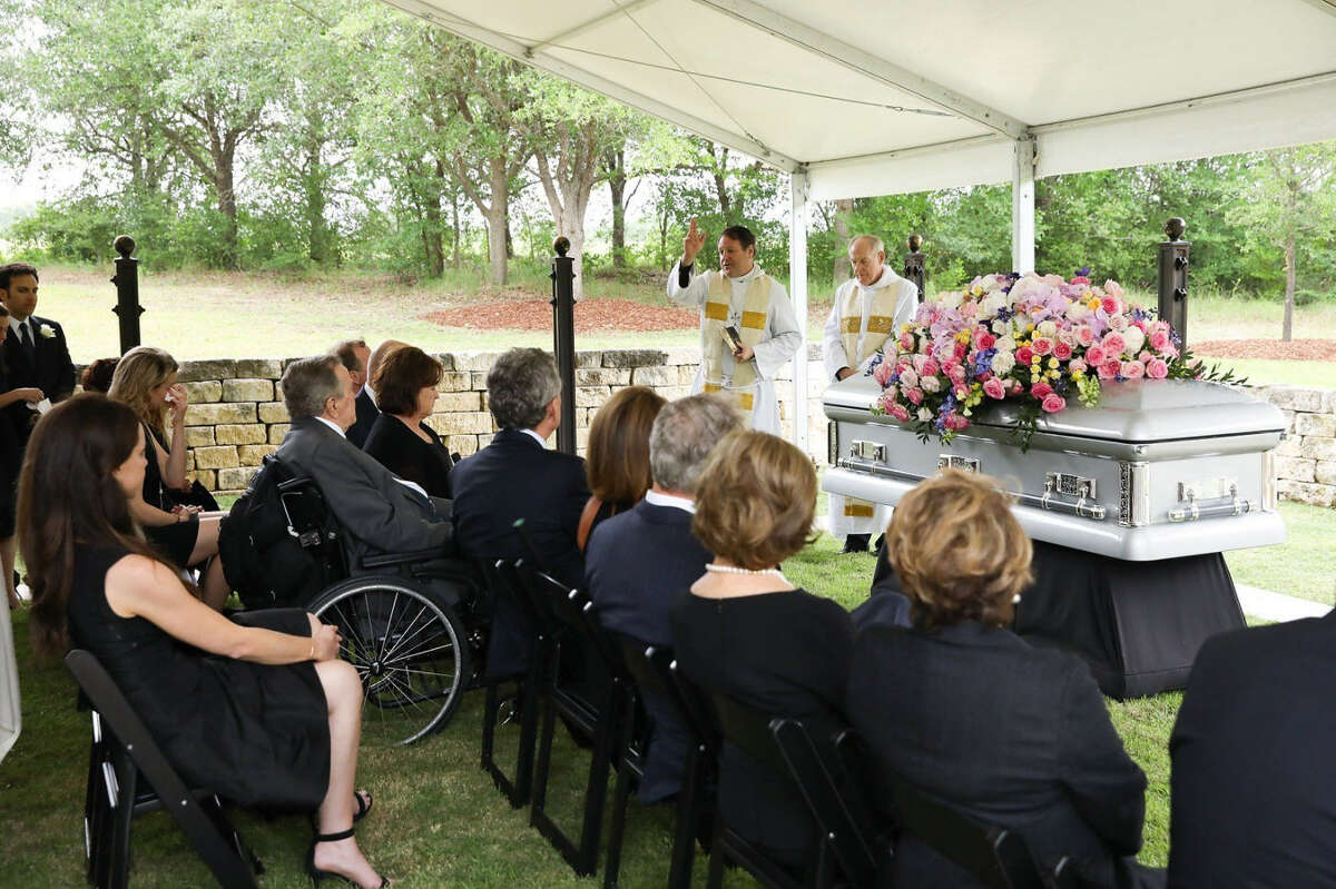 The Bush family shared photos of former first lady Barbara Bush's burial before she was laid to rest Saturday, April 21, 2018 in Houston.