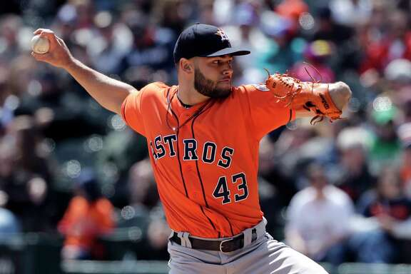 Houston Astros starting pitcher Lance McCullers Jr., throws against the Chicago White Sox during the first inning of a baseball game Sunday, April 22, 2018, in Chicago. (AP Photo/Nam Y. Huh)