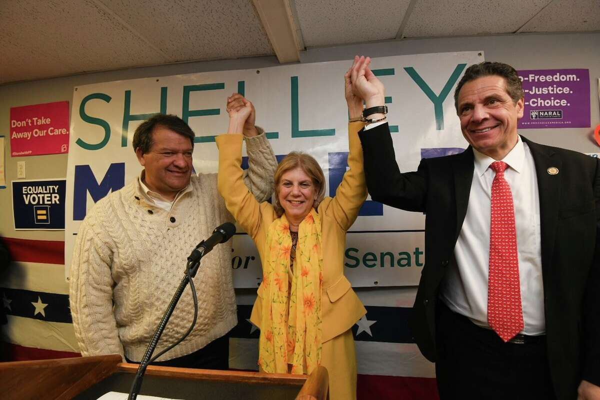 Gov. Andrew Cuomo appears at a rally Sunday to support Democratic Assemblywoman Shelley Mayer in the Tuesday special election to fill the state Senate seat previously held by the now Westchester County executive. (provided)