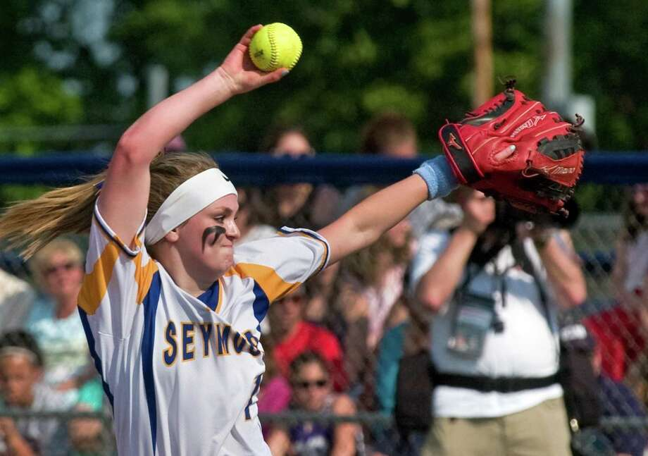 In this June 10 file photo, Seymour pitcher Molly Adamo pitches against North Branford in the Class M final in West Haven. Photo: Christian Abraham / Hearst Connecticut Media / Connecticut Post