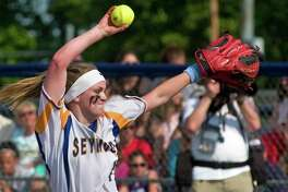 In this June 10 file photo, Seymour pitcher Molly Adamo pitches against North Branford in the Class M final in West Haven.