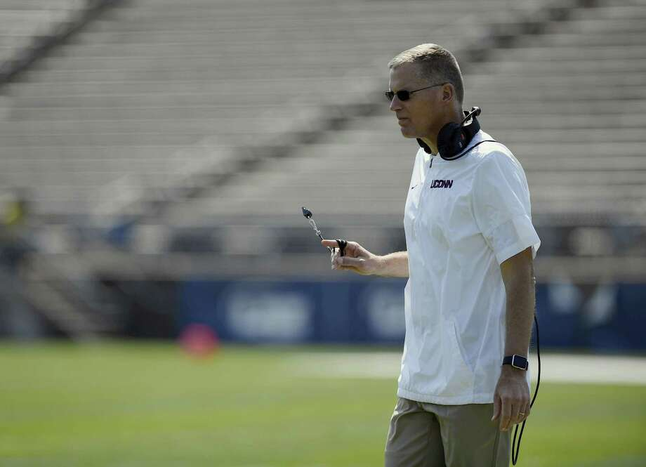Randy Edsall and the UConn football team held a career fair on Sunday that gave current players a chance to connect with former players currently in the workforce. Photo: Associated Press File Photo / AP2018