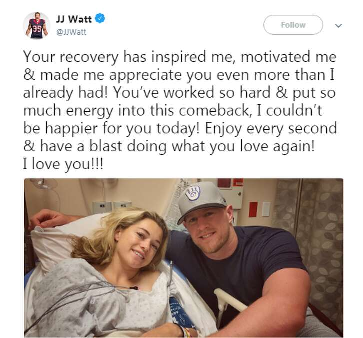 """Watt on Twitter: """"You've worked so hard & put so much energy into this comeback, I couldn't be happier for you today! Enjoy every second & have a blast doing what you love again! I love you!!!""""   Source: J.J. Watt (@JJWatt)   Browse through the photos to see more of J.J. and Kealia together."""