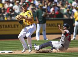 Oakland Athletics' Matt Chapman, left, makes the catch as Boston Red Sox's Mitch Moreland, right, slides out at third base in a fielder's choice during the seventh inning of a baseball game Sunday, April 22, 2018, in Oakland, Calif. (AP Photo/Ben Margot)