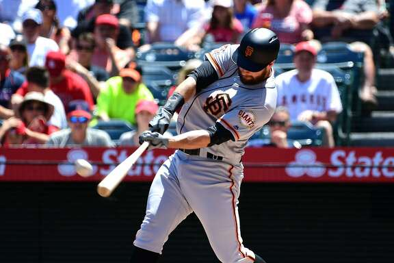ANAHEIM, CA - APRIL 22:  Brandon Belt #9 of the San Francisco Giants flys out after setting a new MLB record with a 21 pitch at bat in the first inning of the game off starting pitcher Jaime Barria #51 of the Los Angeles Angels of Anaheim at Angel Stadium on April 22, 2018 in Anaheim, California.  (Photo by Jayne Kamin-Oncea/Getty Images)