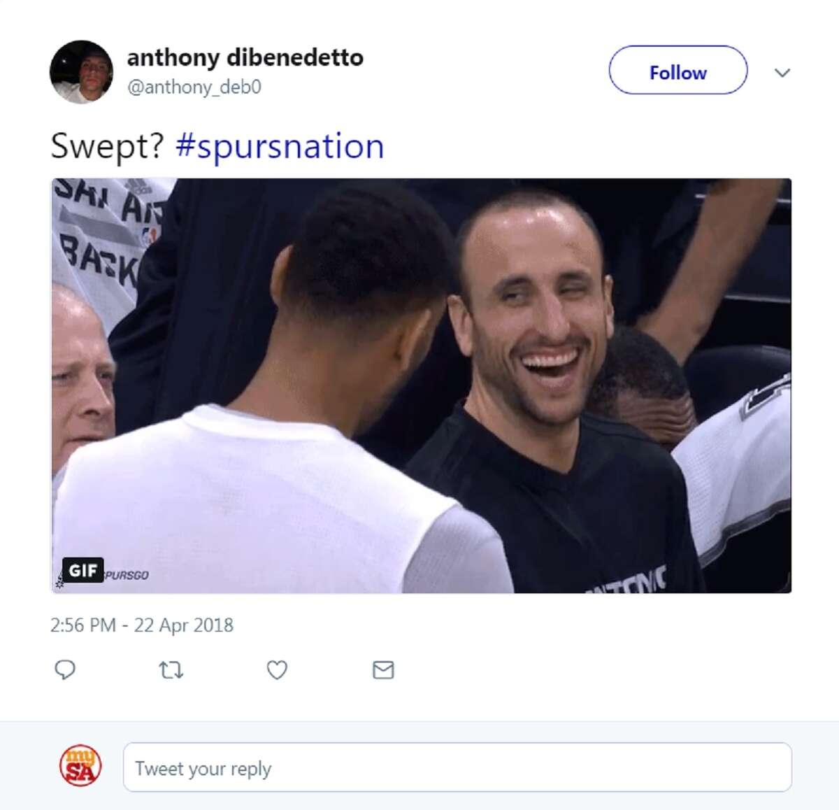 Spurs fans were quick to take to social media to praise Manu Ginóbili and celebrate the Spurs win in Game 4. They were joined by Sports pundits showing respect to the 40-year-old veteran.