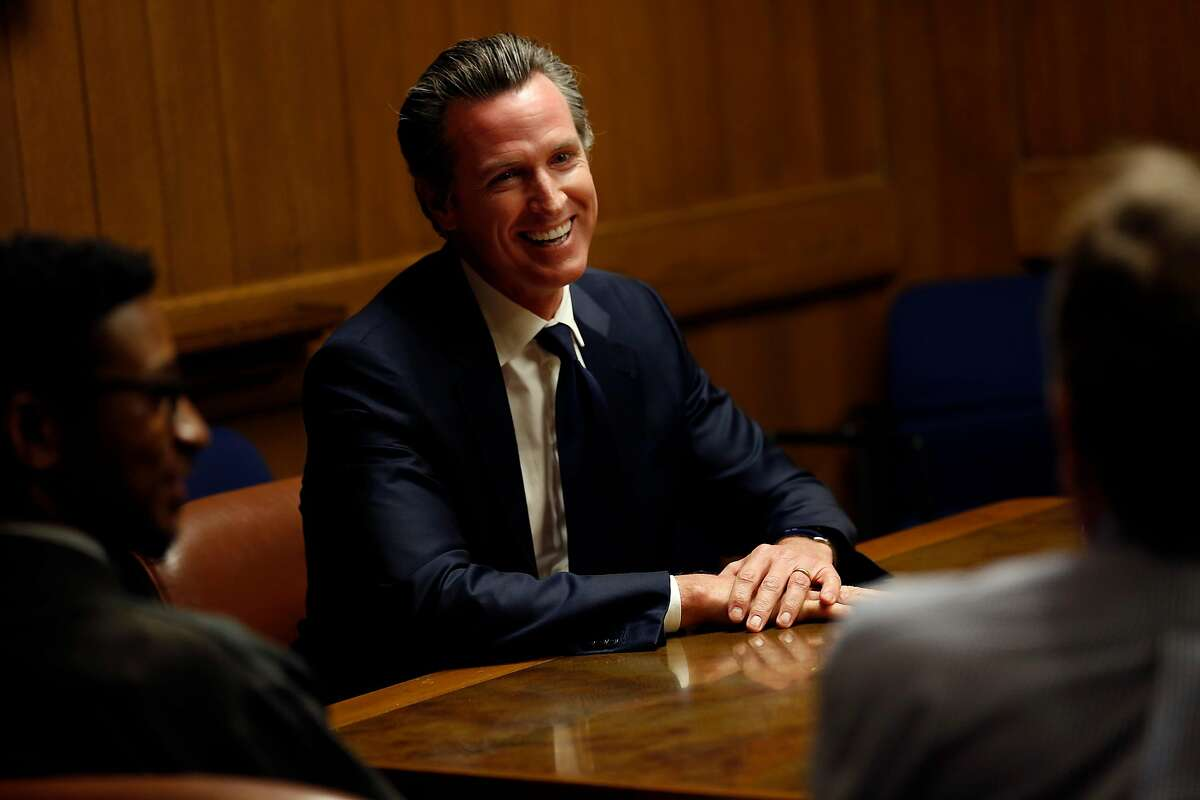 California Lt. Gov. Gavin Newsom is interviewed by the San Francisco Chronicle editorial board, Wednesday, April 18, 2018, in San Francisco, Calif.