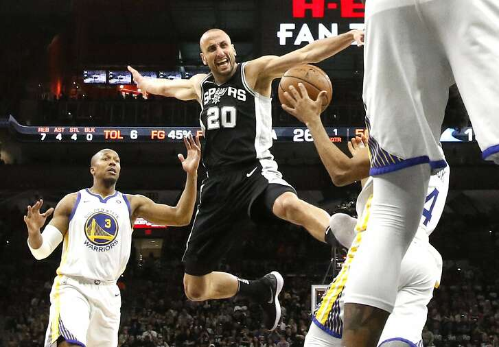 SAN ANTONIO,TX - APRIL 22 :  Manu Ginobili #20 of the San Antonio Spurs is stripped of the ball by Golden State Warriors in the first half of Game Four of Round One of the 2018 NBA Playoffs  at AT&T Center on April 22 , 2018  in San Antonio, Texas.  NOTE TO USER: User expressly acknowledges and agrees that , by downloading and or using this photograph, User is consenting to the terms and conditions of the Getty Images License Agreement. (Photo by Ronald Cortes/Getty Images)