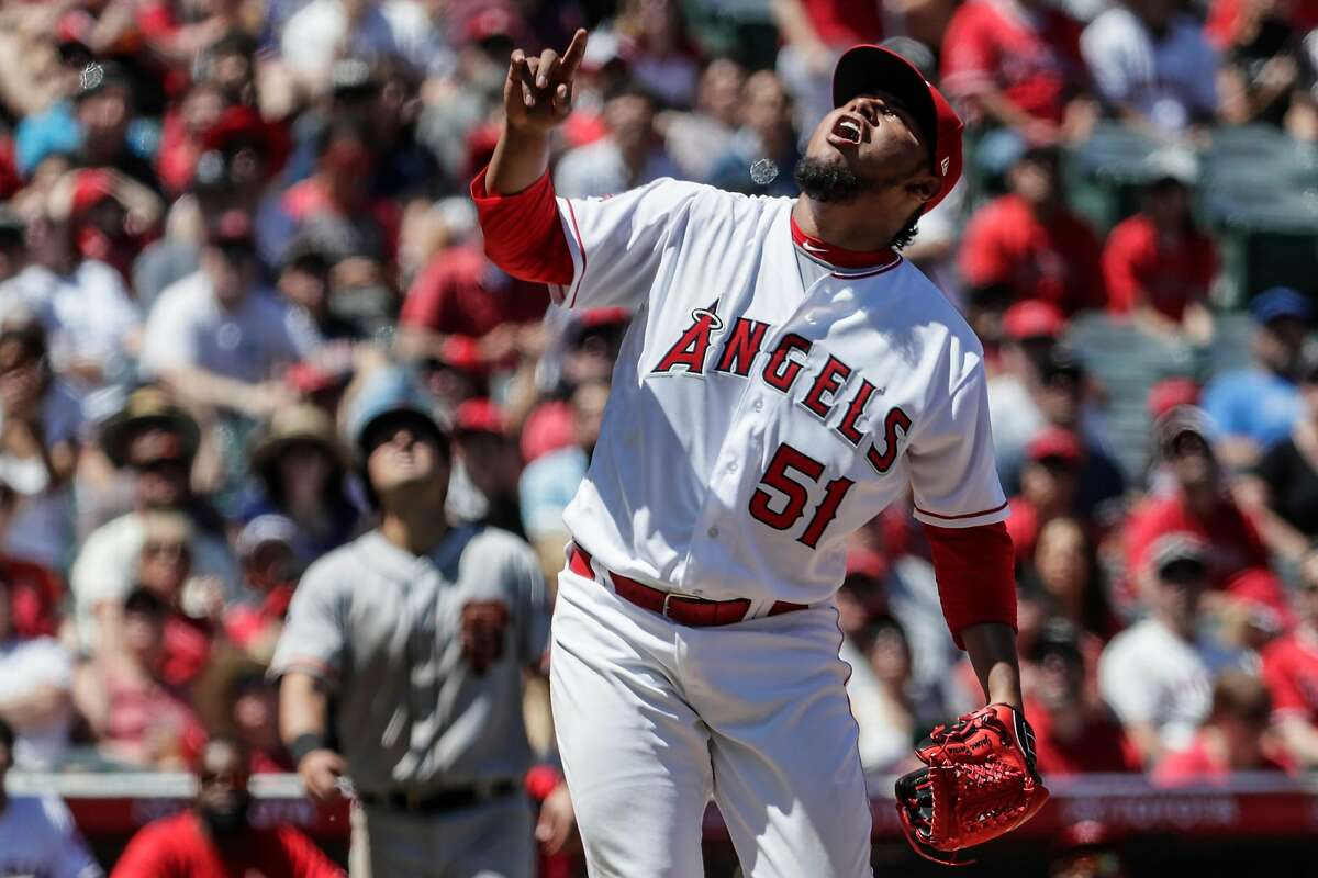 Los Angeles Angels starting pitcher Jaime Barria reacts after inducing an inning ending pop up from San Francisco Giants designated hitter Pablo Sandoval on Sunday, April 22, 2018 at Angel Stadium in Anaheim, Calif. Barria threw 49 pitches in the inning, 26 to Brandon Belt alone.