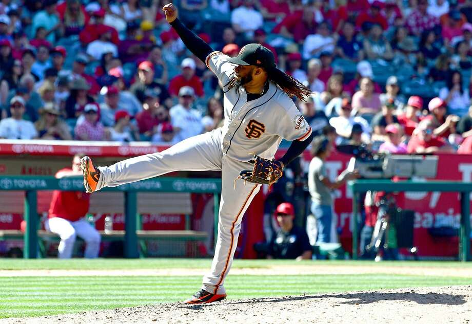 ANAHEIM, CA - APRIL 22:  Johnny Cueto #47 of the San Francisco Giants in the sixth inning of the game against the San Francisco Giants at Angel Stadium on April 22, 2018 in Anaheim, California.  (Photo by Jayne Kamin-Oncea/Getty Images) Photo: Jayne Kamin-Oncea / Getty Images