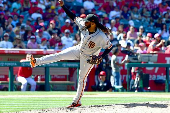ANAHEIM, CA - APRIL 22:  Johnny Cueto #47 of the San Francisco Giants in the sixth inning of the game against the San Francisco Giants at Angel Stadium on April 22, 2018 in Anaheim, California.  (Photo by Jayne Kamin-Oncea/Getty Images)