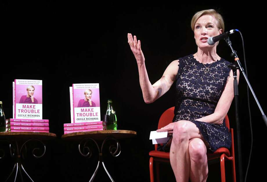 """Cecile Richards, president of Planned Parenthood Federation of America, speaks with Teresa Younger (not pictured), president of Ms. Foundation for Women, about her memoir, """"Making Trouble,"""" at Cooperative Arts and Humanities High School in New Haven on Sunday. Photo: Arnold Gold / Hearst Connecticut Media / New Haven Register"""