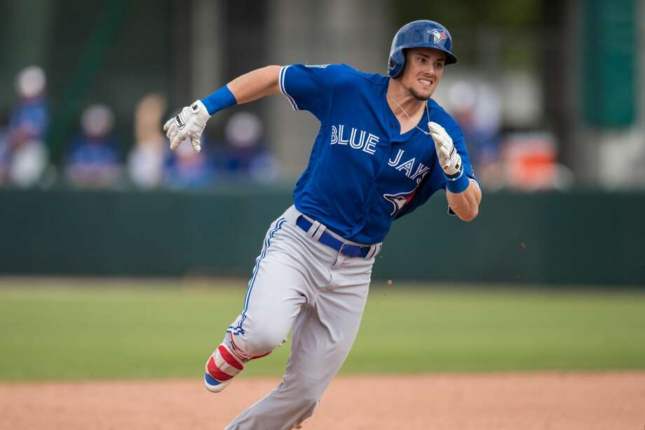 Cavan Biggio #81 of the Toronto Blue Jays runs during a spring training game against the Minnesota Twins on March 2, 2018 at the Hammond Stadium in Fort Myers, Florida. Photo: Brace Hemmelgarn/Getty Images