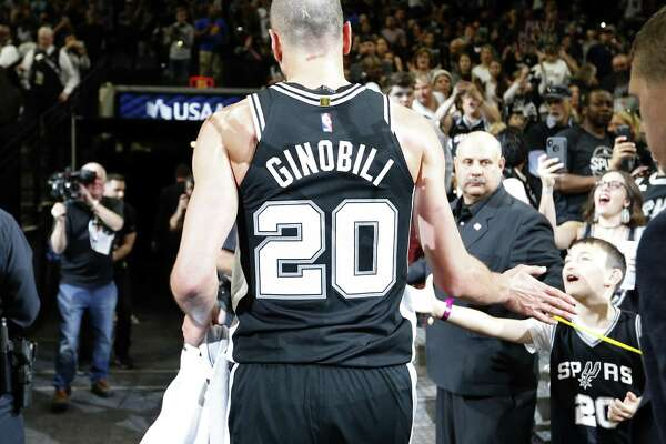 San Antonio Spurs guard Manu Ginobili (20) walks off the court after Game 4 against the Golden State Warriors Sunday April 22, 2018 at the AT&T Center. The Spurs won 103-90.