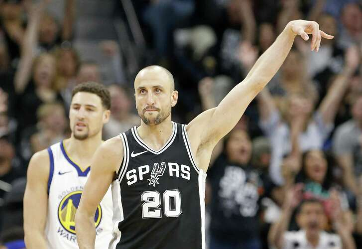 San Antonio Spurs guard Manu Ginobili (20) reacts after making a 3-pointer as Golden State Warriors guard Klay Thompson (11) looks on during second half action of Game 4 Sunday April 22, 2018 at the AT&T Center. The Spurs won 103-90.