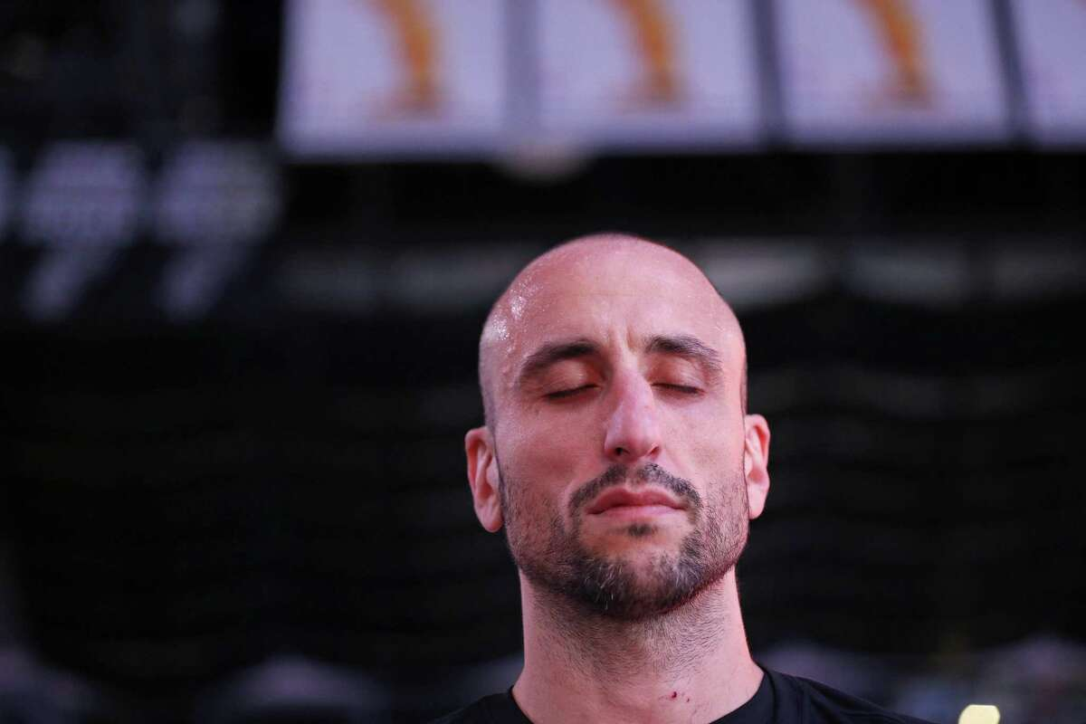 San Antonio Spurs' Manu Ginobili (20) stands during the national anthem before Game 4 against the Golden State Warriors Sunday April 22, 2018 at the AT&T Center.