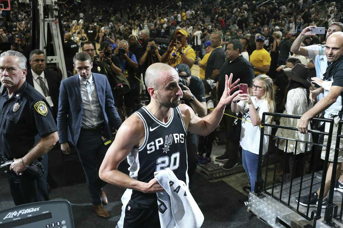 San Antonio Spurs?' Manu Ginobili exits the court after they beat the Golden State Warriors, 103-90 at the AT&T Center, Sunday, April 22, 2018. 'El Contusion' announced his retirement after 16 years in the NBA playing for the Spurs.