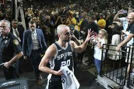 San Antonio Spurs?' Manu Ginobili exits the court after they beat the Golden State Warriors, 103-90 at the AT&T Center, Sunday, April 22, 2018. The Spurs keep the series alive at 3-1.