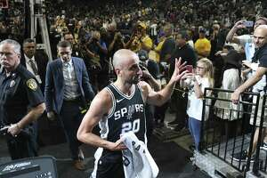 San Antonio Spurs' Manu Ginobili exits the court after they beat the Golden State Warriors, 103-90 at the AT&T Center, Sunday, April 22, 2018. The Spurs keep the series alive at 3-1.