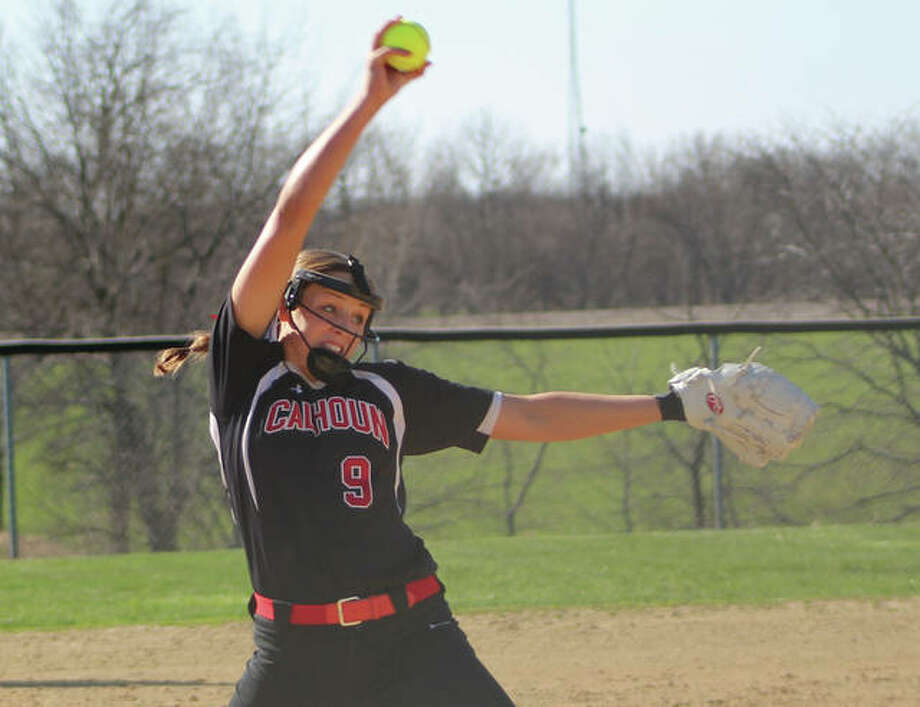 Calhoun's Sydney Baalman delivers a pitch to the plate in Thursday's WIVC victory in Greenfield. With the sophomore stepping into the ace role and turning in a 10-2 record with a 1.30 ERA and 141 strikeouts in 84 innings, Calhoun is 17-2 with a 13-game winning streak. Photo:       Greg Shashack / The Telegraph