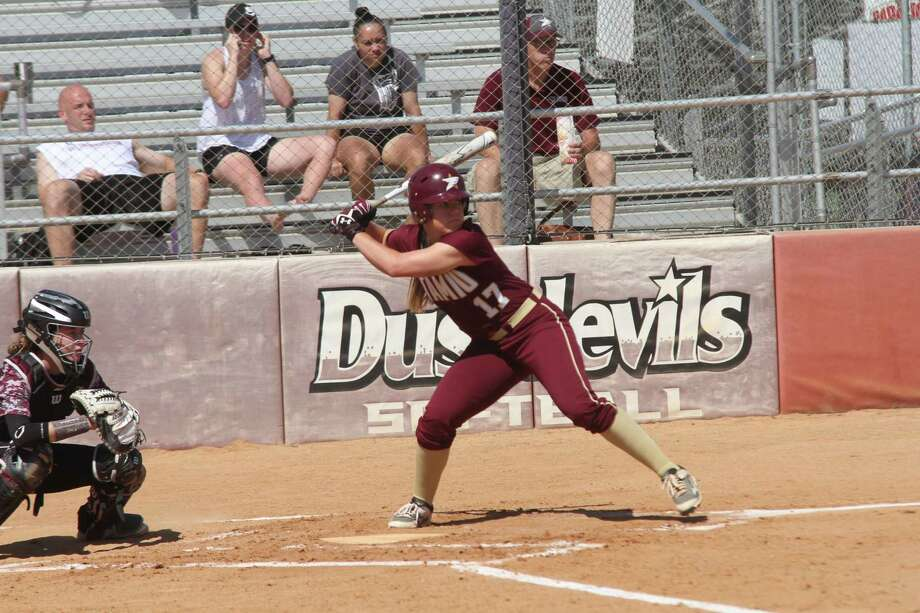 TAMIU split its games Sunday in San Angelo during a pair of run-rule games beating Adams State 12-4 in five innings before losing 16-8 to Angelo State in six frames. Lindsey Smith was 3-for-4 with three runs and four RBIs in the Dustdevils' win. Photo: Courtesy Of TAMIU Athletics, File