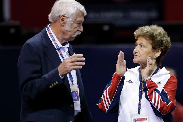 Bela and Martha Karolyi, shown in 2012, said they didn't know USA Gymnastics doctor Larry Nassar was sexually abusing athletes and also denied ever striking or verbally abusing a gymnast.