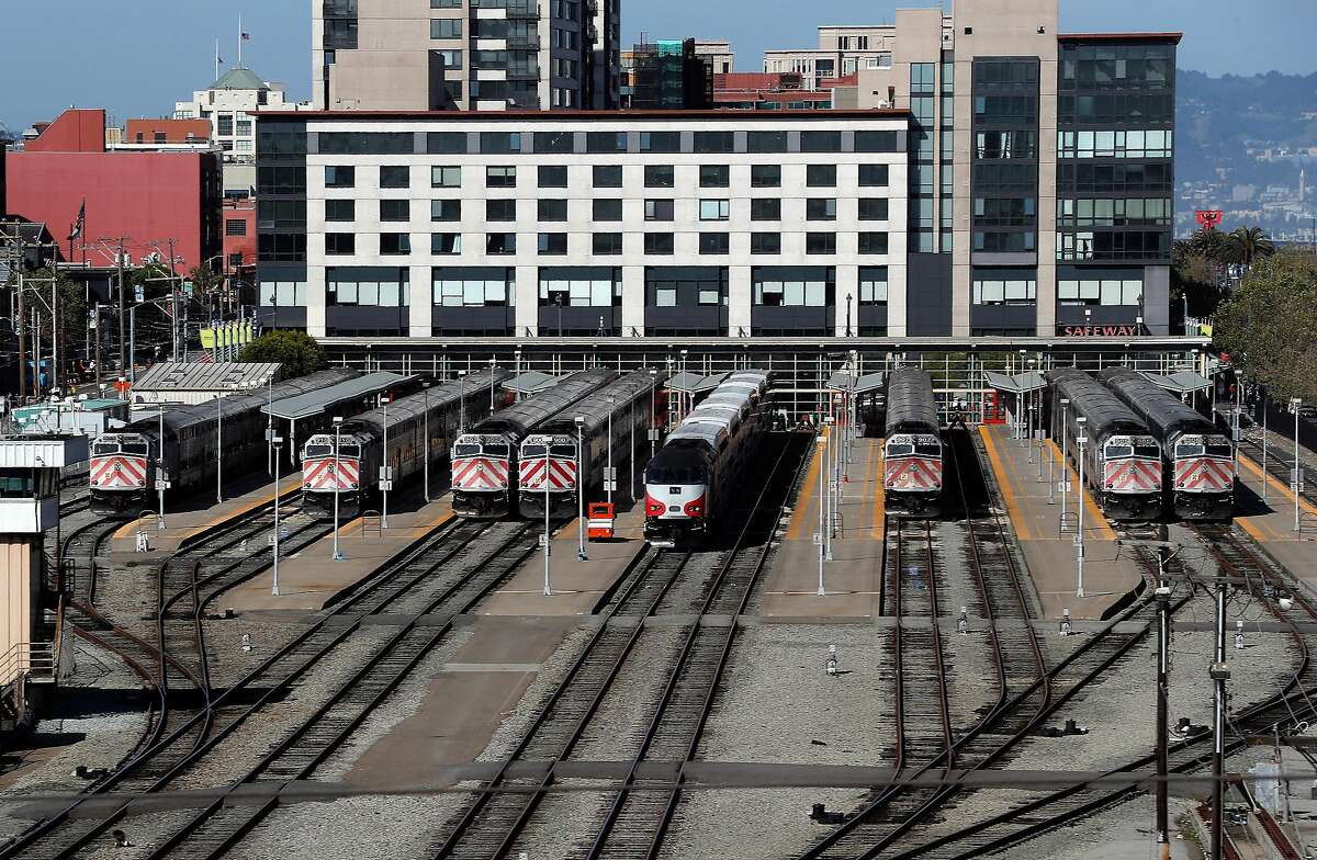 Trains are stopped at the Caltrain rail station in San Francisco, Calif., on Sunday, April 22, 2018. A new report for a planned rail extension into downtown would now eliminate the need to demolish the I-280 extension, as previously proposed.