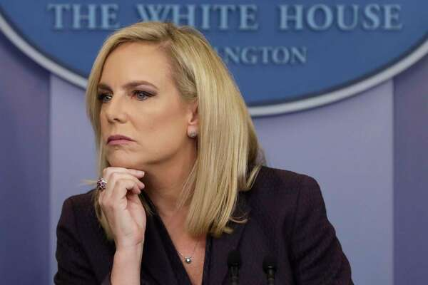 DHS Secretary Kirstjen Nielsen listens to a question during a press briefing in Washington on April 4, 2018.