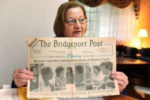Bernice Freeman holds a Sept. 14, 1978 copy of The Bridgeport Post newspaper during an interview in her Monroe, Conn. home April 16, 2018. Freeman was a teacher at Winthrop School, in Bridgeport, a was one of the teachers sent to prison during the teacher's strike of 1978.