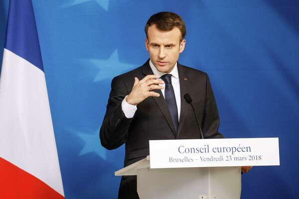 Emmanuel Macron, France's president, speaks during a news conference following a summit of European Union leaders in Brussels, Belgium, on March 23, 2018.