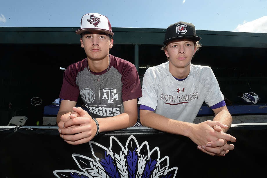 Although early in their repsective high school baseball careers, Port Neches - Groves sophomore Khristian Curtis and freshman Drake Varnado were already recruited by colleges and have verbally committed to Texas A & M and South Carolina, respectively.   Photo taken Thursday, April 12, 2018 Kim Brent/The Enterprise Photo: Kim Brent / BEN