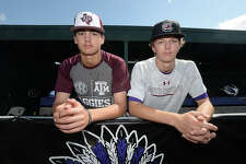 Although early in their repsective high school baseball careers, Port Neches - Groves sophomore Khristian Curtis and freshman Drake Varnado were already recruited by colleges and have verbally committed to Texas A & M and South Carolina, respectively.   Photo taken Thursday, April 12, 2018 Kim Brent/The Enterprise