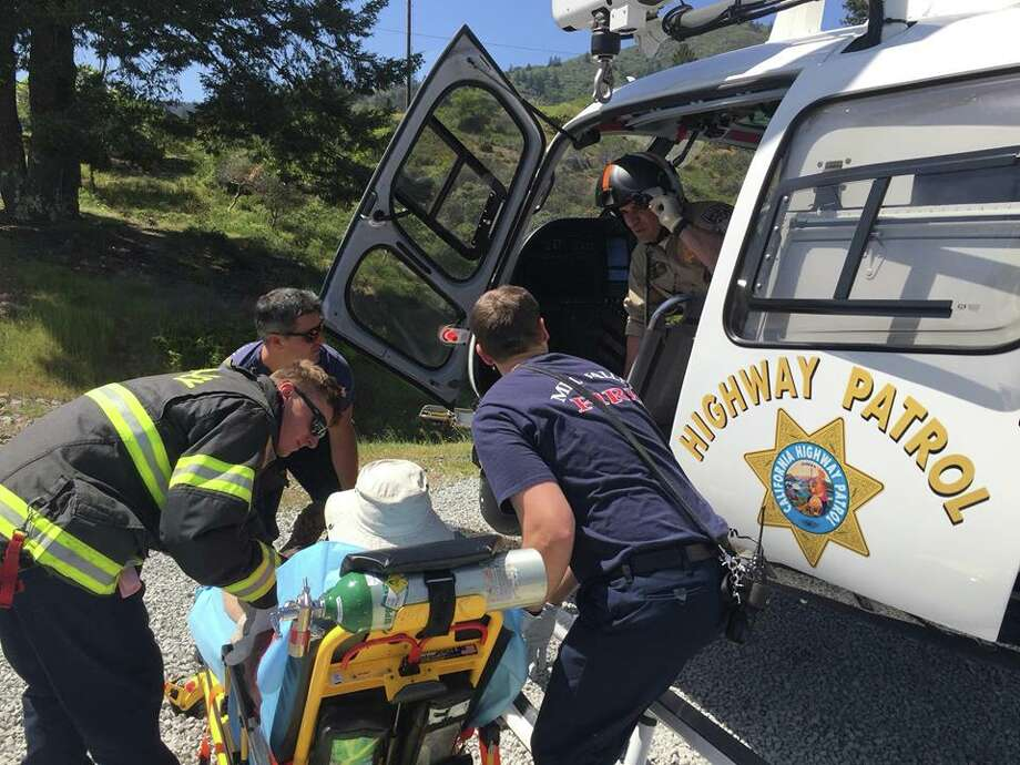 CHP - Golden Gate Division Air Operations rescues a hiker who was bitten multiple times by a rattlesnake on Mount Tamalpais on Sunday, April 22, 2018. Photo: CHP - Golden Gate Division Air Operations