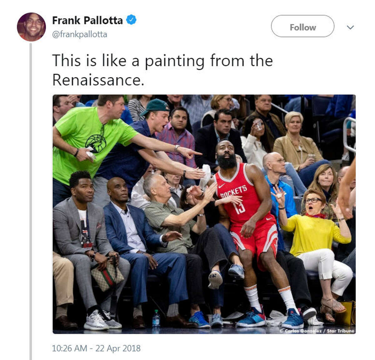 A photo of James Harden from game three of the Houston Rockets vs. Minnesota Timberwolves playoff series became a Twitter sensation after someone likened it to a Renaissance era painting.Image source: Twitter
