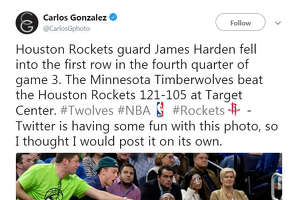 A photo of James Harden from game three of the Houston Rockets vs. Minnesota Timberwolves playoff series became a Twitter sensation after someone likened it to a Renaissance era painting.  Image source:  Twitter