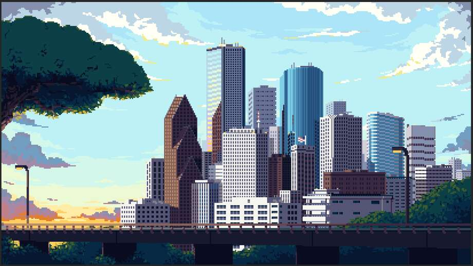 Rice University doctorte student Ronan O'Connell worked with German pixel artist Lennart Butz to create a vintage video game-inspired scene of Houston's skyline Photo: Lennart Butz