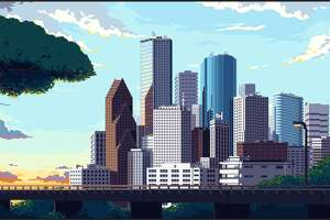 Rice University doctorte student Ronan O'Connell worked with German pixel artist Lennart Butz to create a vintage video game-inspired scene of Houston's skyline
