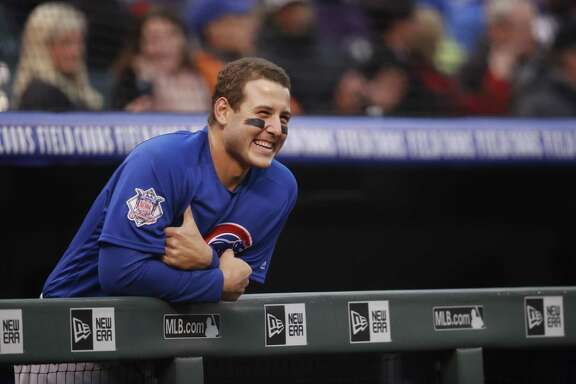 Chicago Cubs first baseman Anthony Rizzo (44) in the first inning of a baseball game Saturday, April 21, 2018, in Denver.(AP Photo/David Zalubowski)